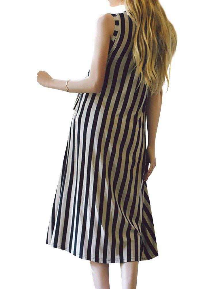 14224ab369b Maternity Fashion - smart maternity dresses   ZXH Women Stripe Sleeveless  Maternity Comfty Round Neck Cotton Drawstring Long Dress    Read more  testimonials ...