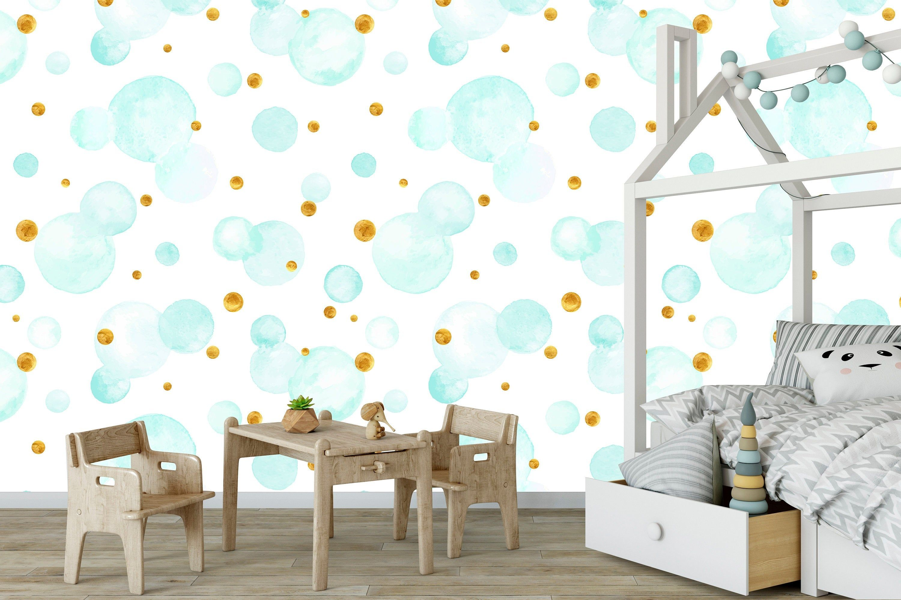 Baby Blue Soap Bubble Nursery Wallpapers Kid S Room Interior Self Adhesive Wallpapers Kids Interior Room Nursery Wallpaper Shop Wallpaper