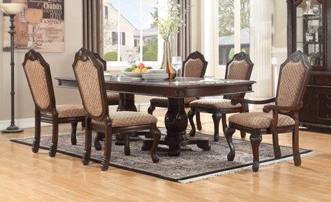 mcferran home furnishings chateau 7 piece dining table set in rh pinterest com