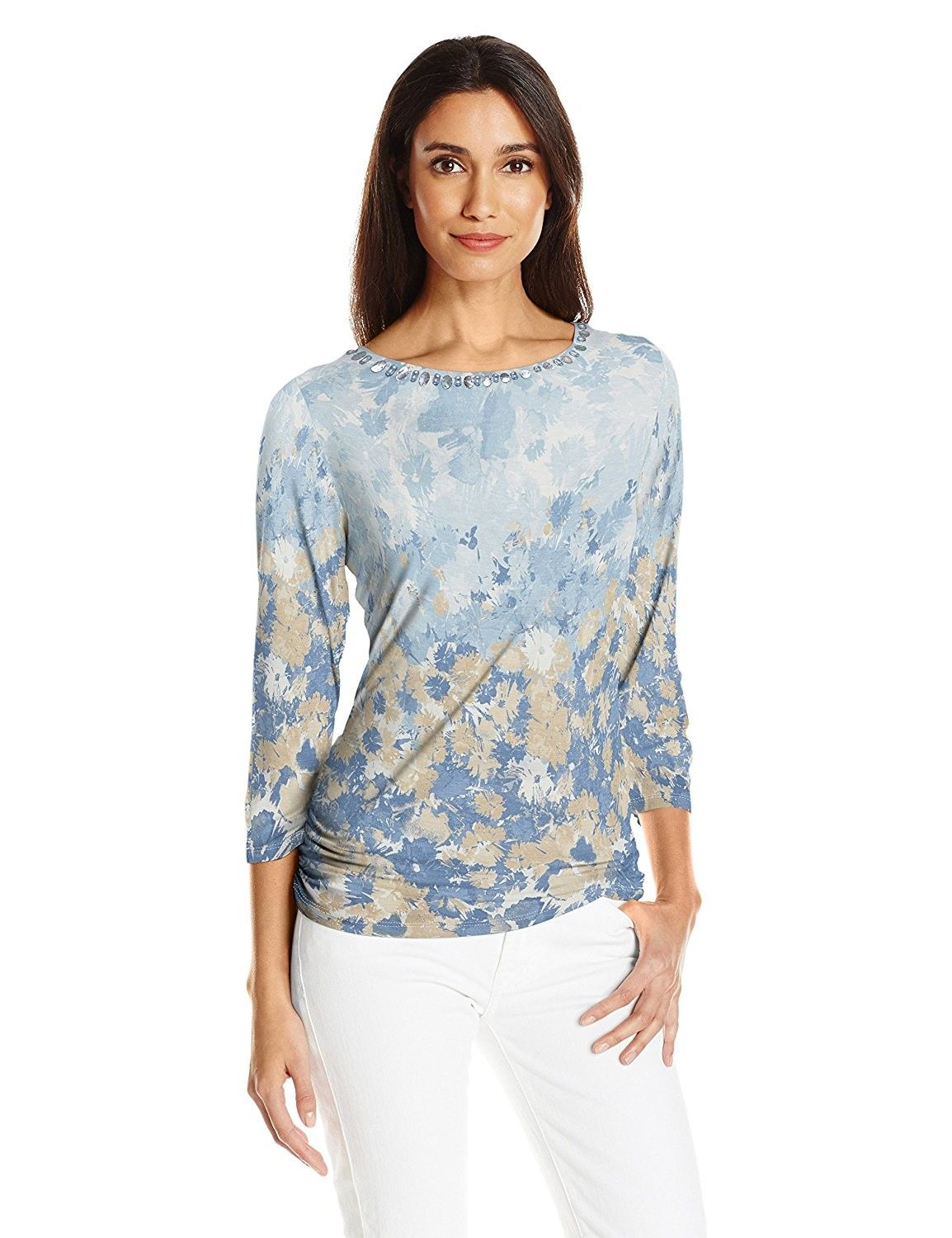 5814dfef Ruby Rd. Women's Plus Size Floral 3/4 Sleeve Knit Top With Double ...