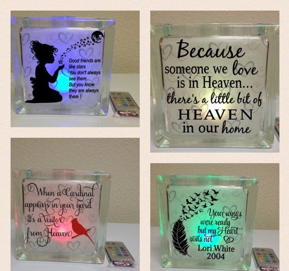 VINYL DECAL ONLY Lighted Glass Block Decal Memorial Glass - How to make vinyl decals for glass blocks