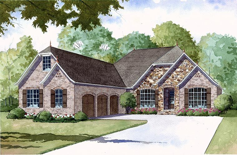 Country European French Country Elevation of Plan 82406 Itty