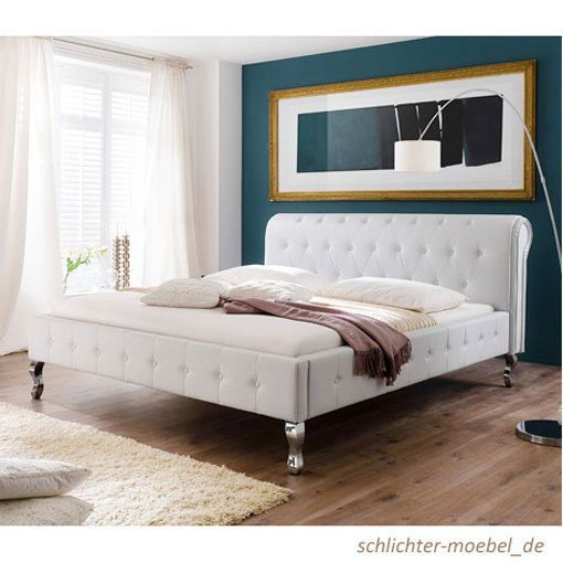 barock polsterbett designerbett bett kunstlederbett barockbett 160x200 wei home bett. Black Bedroom Furniture Sets. Home Design Ideas