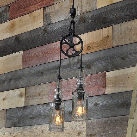 Items Similar To Rustic Light Pendant Lighting Pulley On Etsy: Rustic Farmhouse Pendant Chandelier