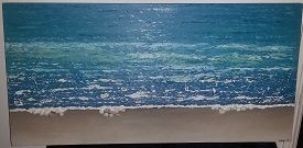 Seascape: Hi, just thought I'd share with you my first acrylic painting inspired by a friend's bathroom collage and the Painting Tropical Water tutorial.   I have