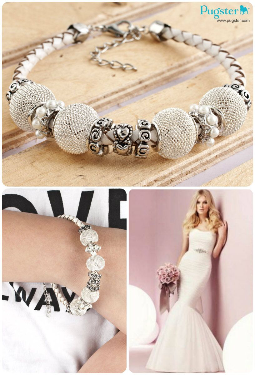 Would You Wear A Charm Bracelet To A Wedding Wedding Bridal White Bride Beads Beaded Charmbracelet Pandora Style Charm Bracelet Mother Of Pearl Jewelry