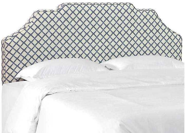 One Kings Lane Maren Notched Headboard - Lattice Navy Products in - Lane Bedroom Furniture