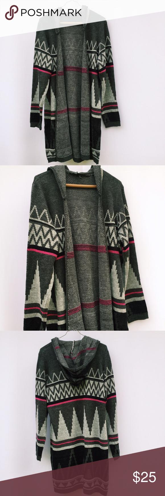 Grey aztec design hooded cardigan duster new lg Amazing gray pink ...