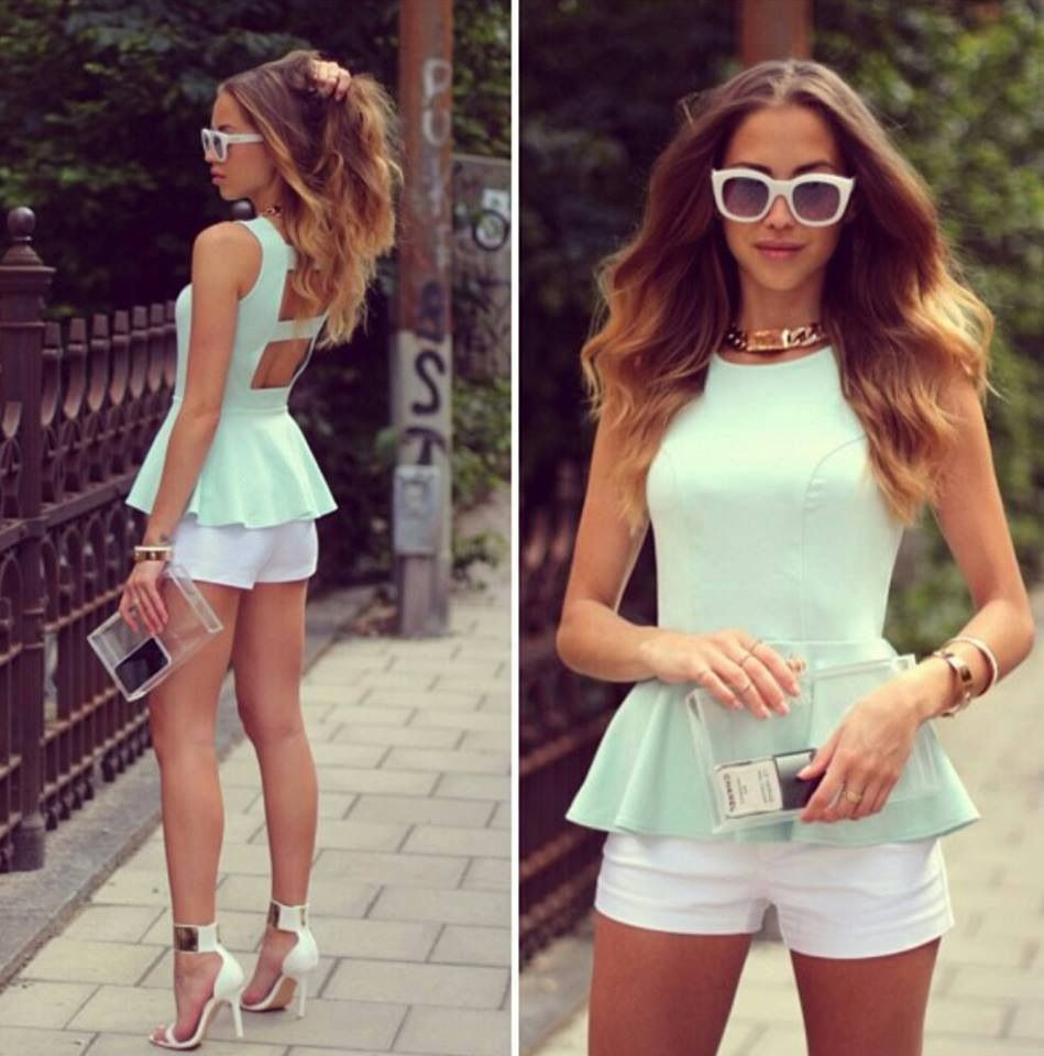 Mint or peach peplum top + white shorts + white heels +white sunglasses and add a statement necklace= cool outfit