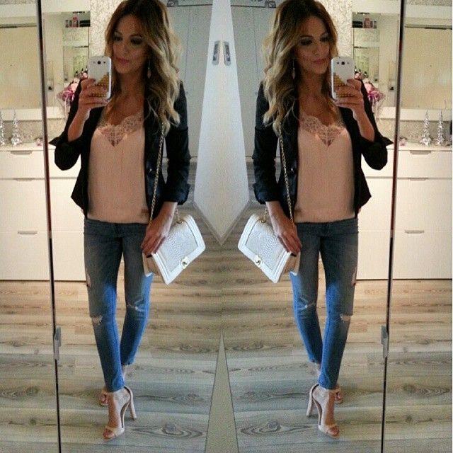 OOTD  Top et jean H&M nouvelle co Blazer Mango Sandales Zara Bon week-end!!!