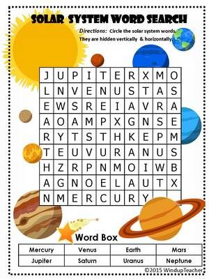 solar system word search easy from windup teacher on 3 pages easy. Black Bedroom Furniture Sets. Home Design Ideas