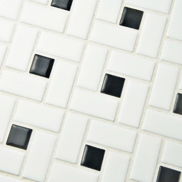 SomerTile 12.5x12.5-in Spiral 1x2-in White/Black Porcelain Mosaic Tile (Pack of 10)