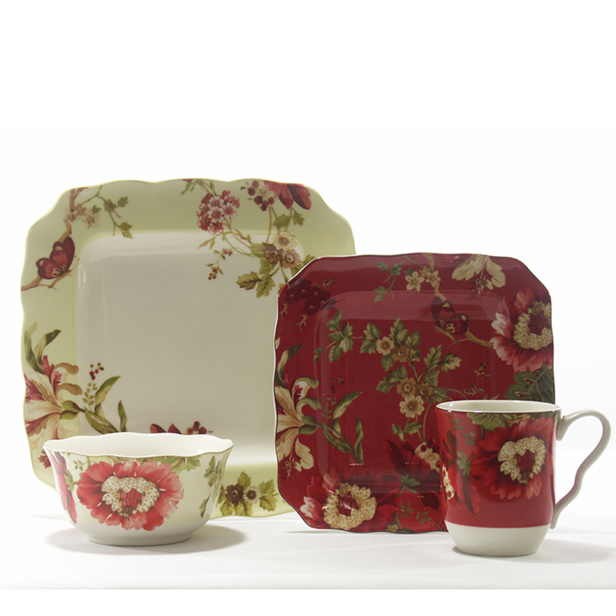 New. 222 Fifth Gabrielle Red 16 PC Porcelain Dinnerware Set