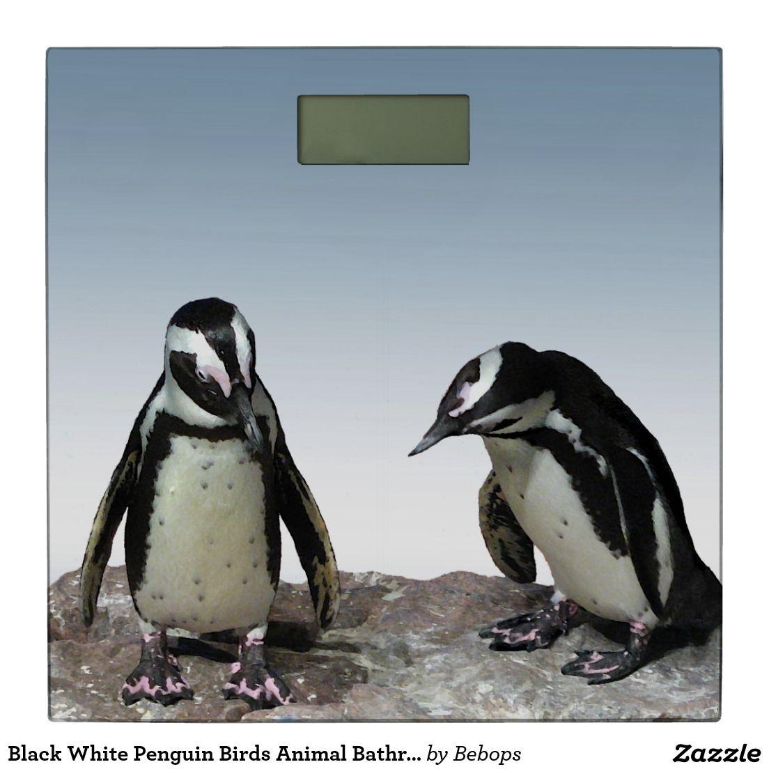 Black White Penguin Birds Animal Bathroom Scale Zazzle
