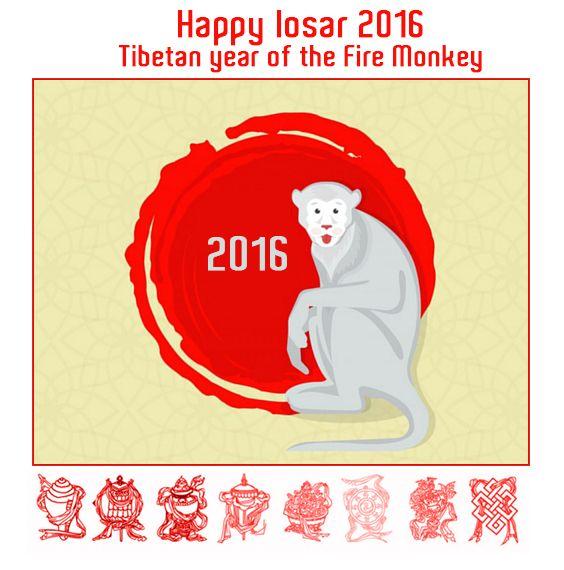 Happy Losar 2016. The Fire monkey year - Feliz año nuevo 2016. El año del mono de fuego         #buddhistauspicioussymbols #auspicious #simbolosauspiciososbudistas #auspicioso