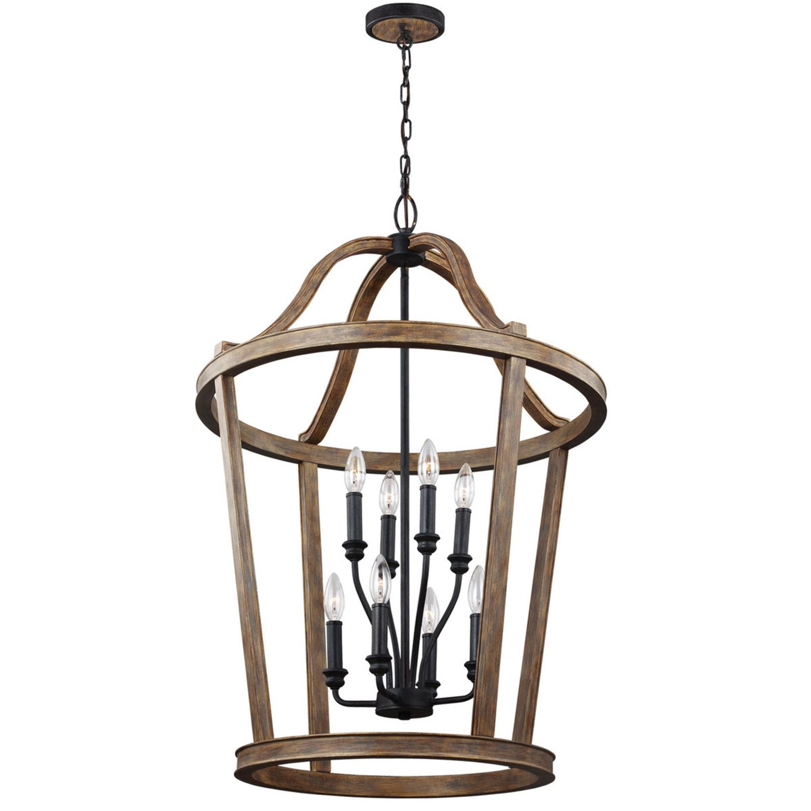 Rustic French Lantern Large wood_and_black_weathered