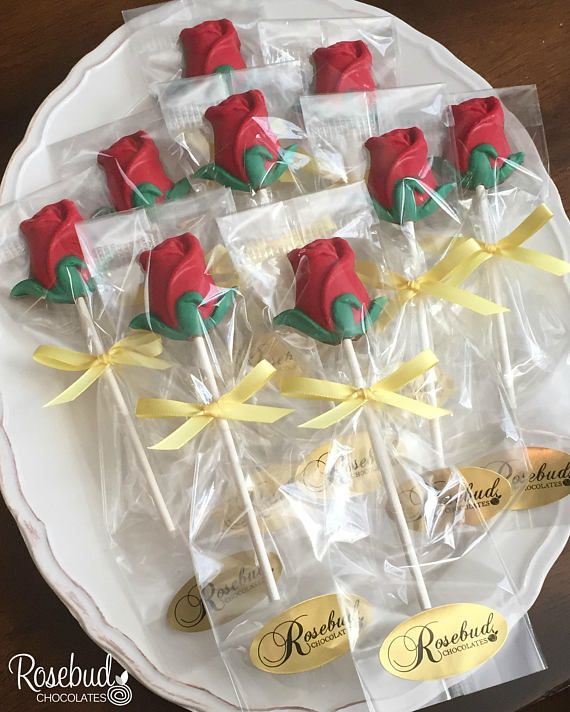12 ROSE Chocolate Lollipops Party Favors Garden Flowers