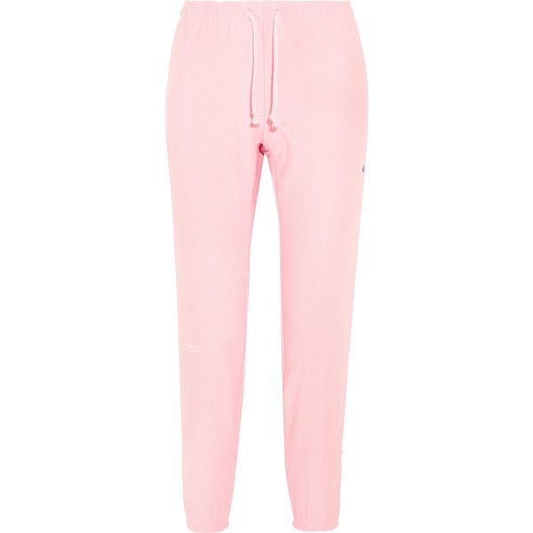 Vetements + Champion cotton-blend jersey track pants featuring polyvore women's fashion clothing activewear activewear pants pants jeans sweatpants delete sweats sport sweat pants track pants sports sweatpants pink sweatpants sport sweatpants