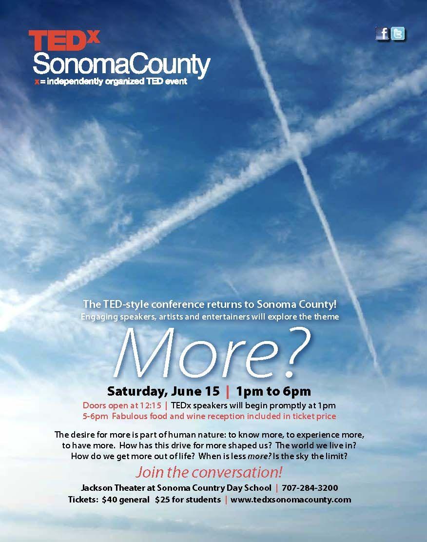 Second annual TEDxSonomaCounty event on June 15th, 2013