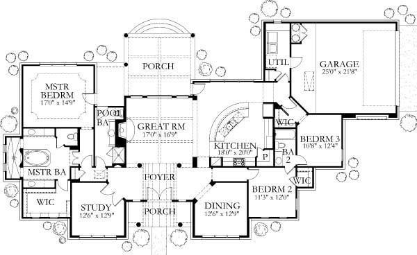 Mediterranean Style House Plan 3 Beds 3 Baths 2504 Sq Ft Plan 80 163 Mediterranean Style House Plans Mediterranean Homes House Plans One Story
