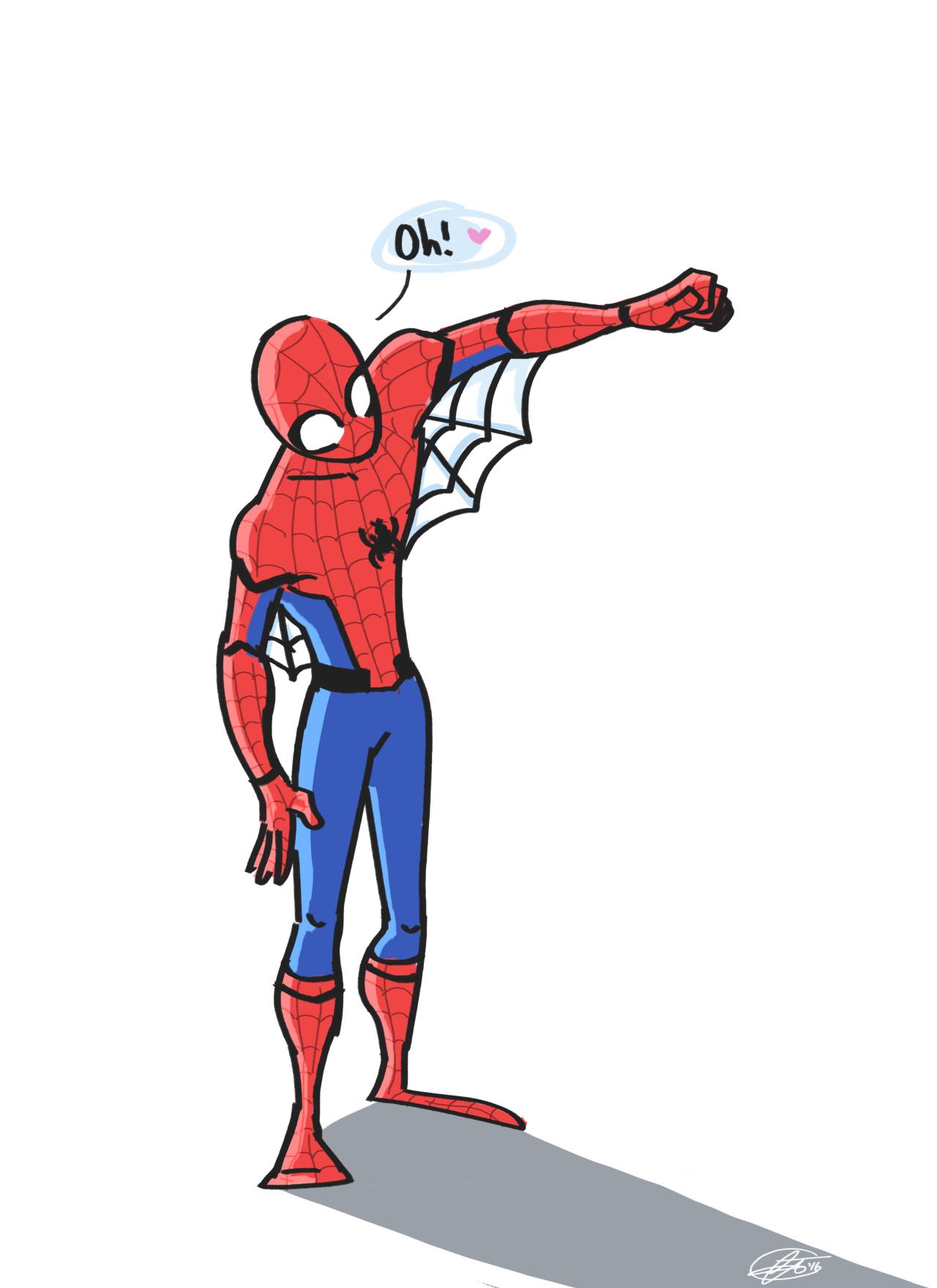 "corinadraws """"cute webbing you got there spidey"