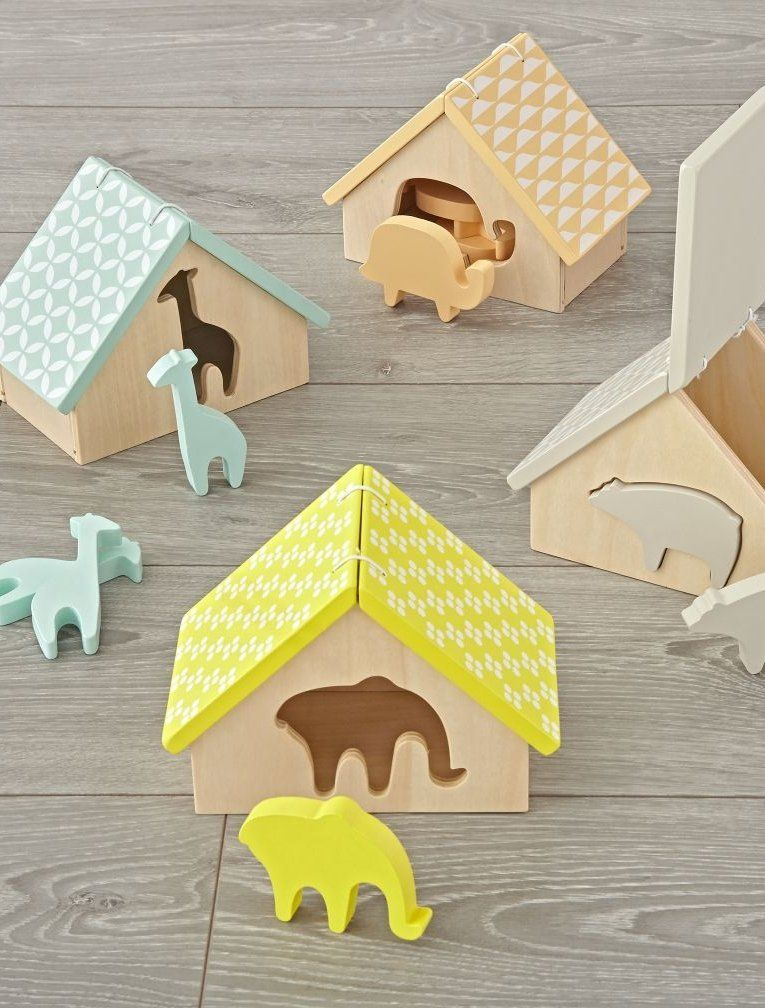 Shop Animal Matching Game.  Little ones will love learning about shapes and colors with this animal matching game.  Place the different animals into their correct homes, then open the roof for easy access.