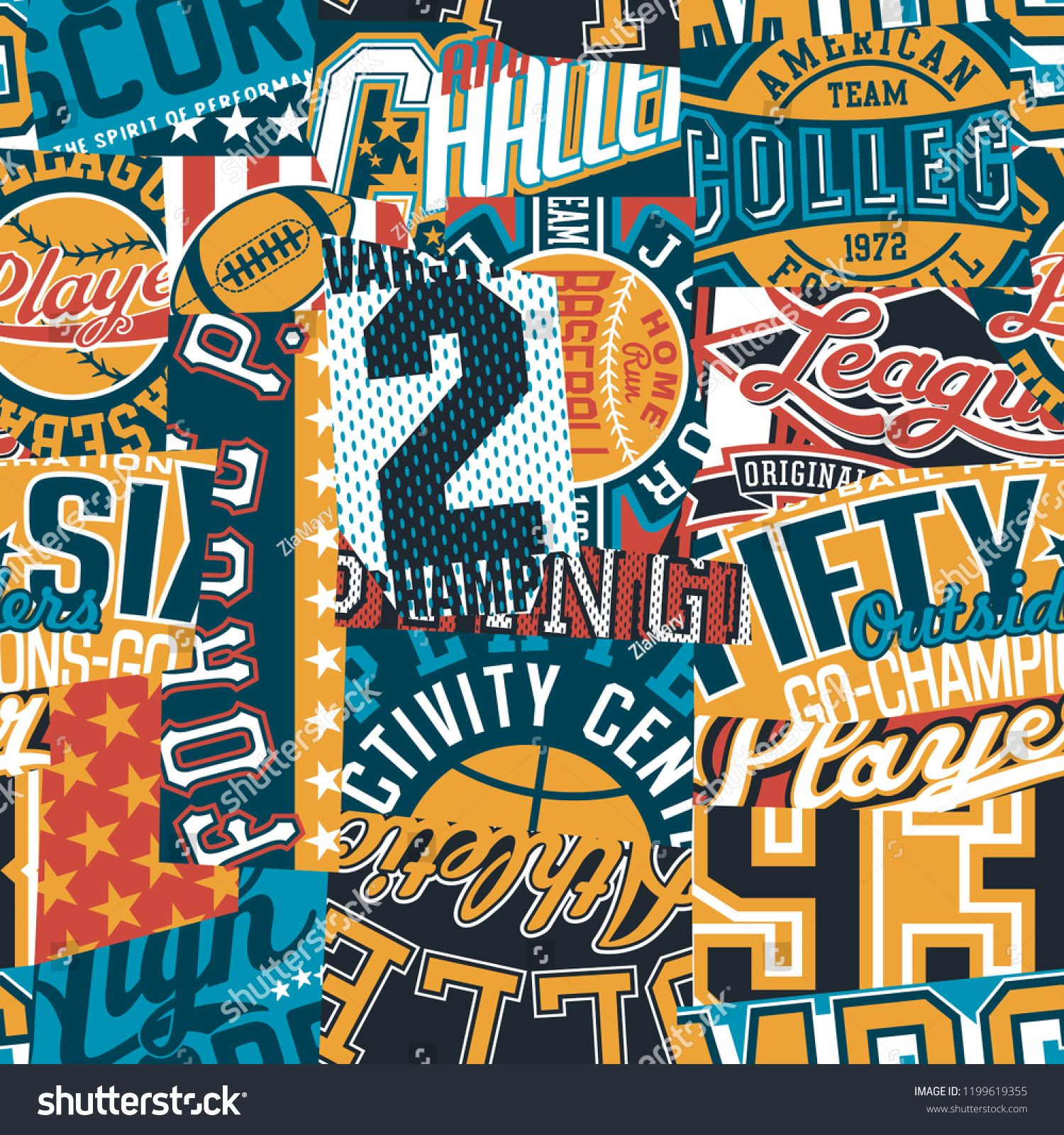 Vintage American College Sport Graphic Patchwork Abstract Vector Wallpaper Seamless Pattern Sport Graphi Sports Wallpapers Wallpapers Vintage American Vintage