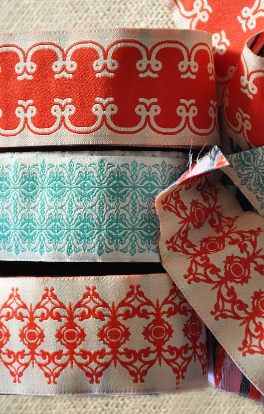 Beautiful Red And Aqua Vintage Embroidered Ribbon Vintage Sewing Notions Vintage Ribbon Scandinavian Pattern