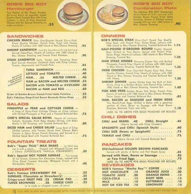 Bob's Big Boy Van Nuys Ca. 1965 Menu design inspiration