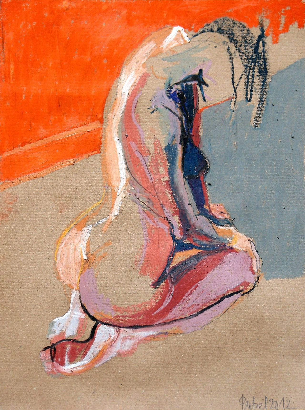 """red-lipstick: """" Robert Bubel (Polish, b. 1968, Zarki, Poland) - For F.Bacon. The Nude, 2012 Painting: Oil Pastel on Paper """""""