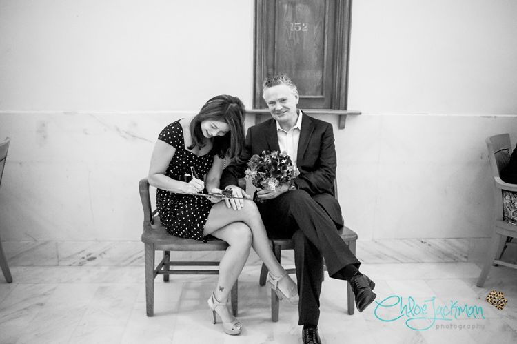 Kerry and Karen elope at San Francisco's City Hall! Take a peek at this awesome couple's silly and loving elopement photos on the Chloe Jackman Photography blog.