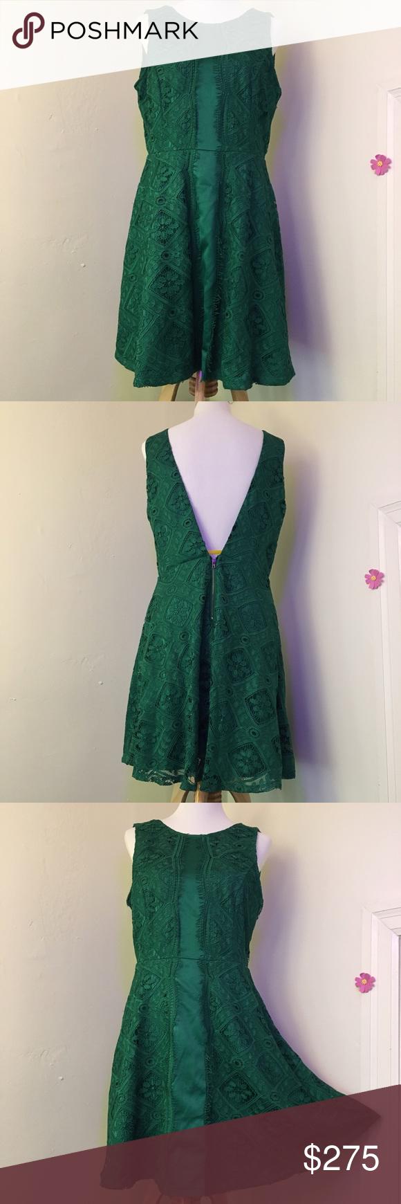 Hp lace vback dress emerald green adelyn rae dress