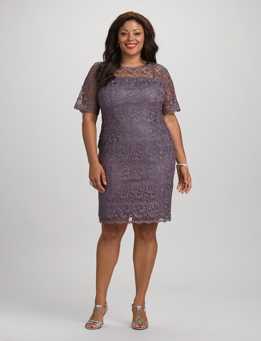 Dress for fall wedding  Db RSVP Plus Size Lace Sheath Dress  dressbarn  Fall Wedding