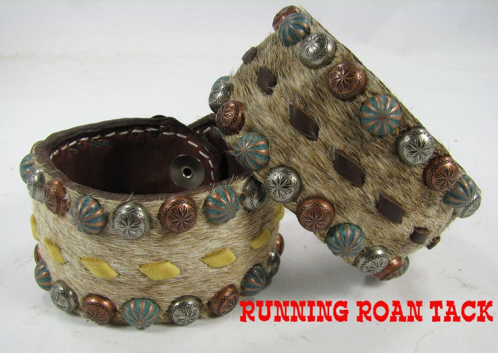 Light Brindle Cowhide Cuff Bracelet with Buckstitch by Running Roan Tack