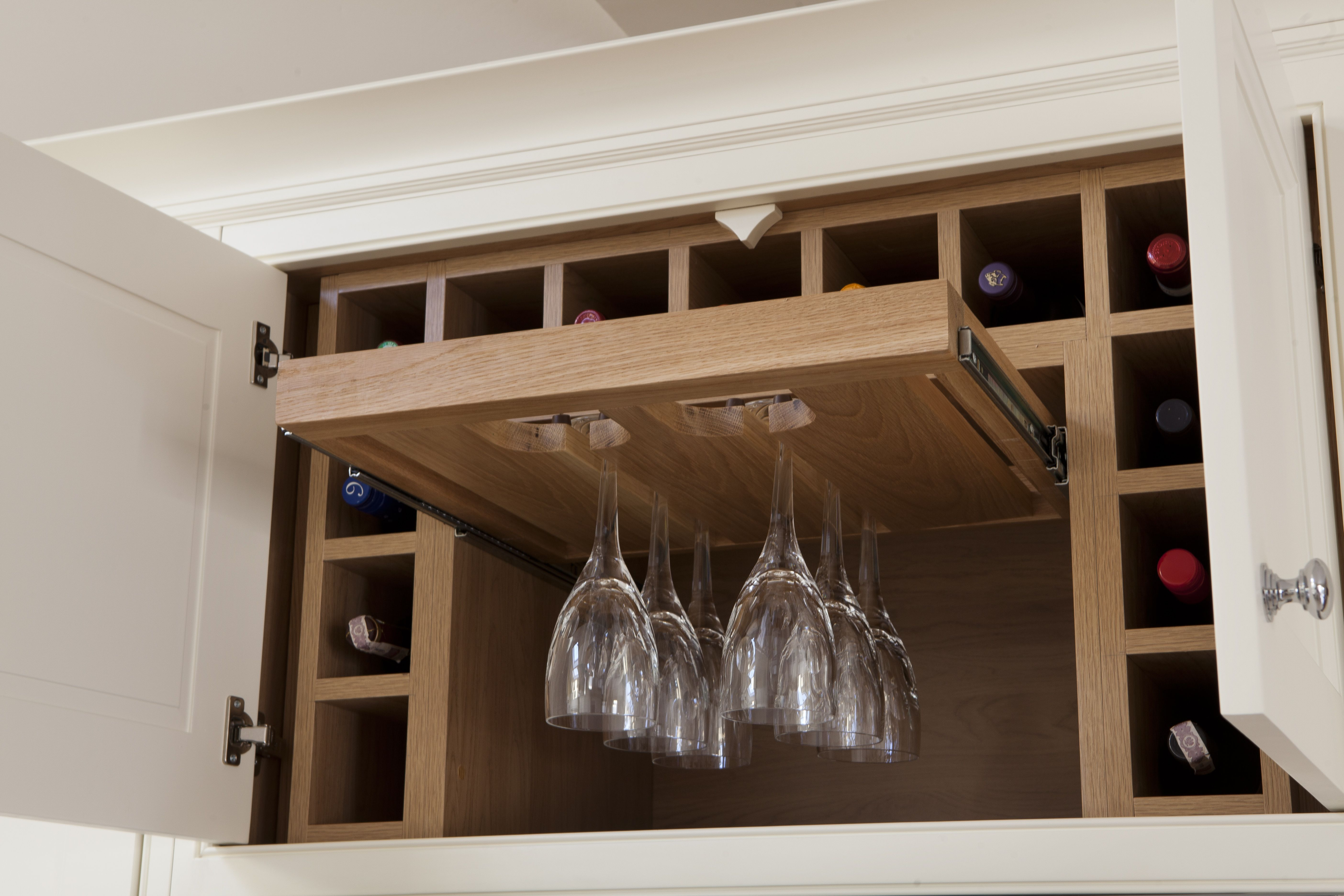 Wine Racks And Wine Bottle Storage For The Kitchen Pull Out Wine Glass Holder With G Wine Theme Kitchen Living Room And Kitchen Colours Custom Kitchens Design