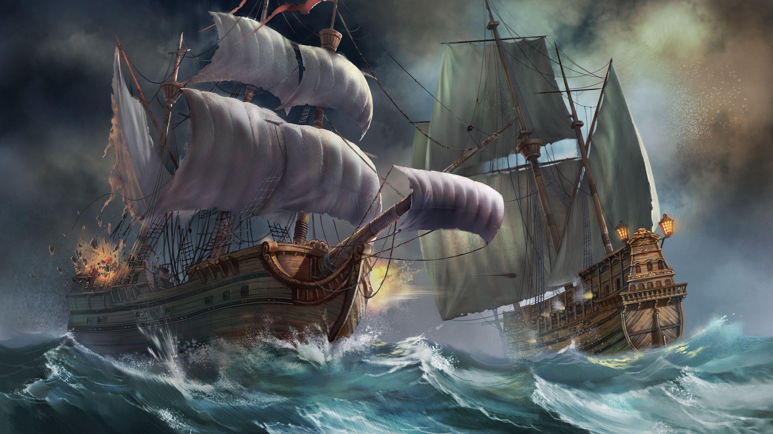 download wallpaper 2560x1440 ships sea storm explosion mac imac