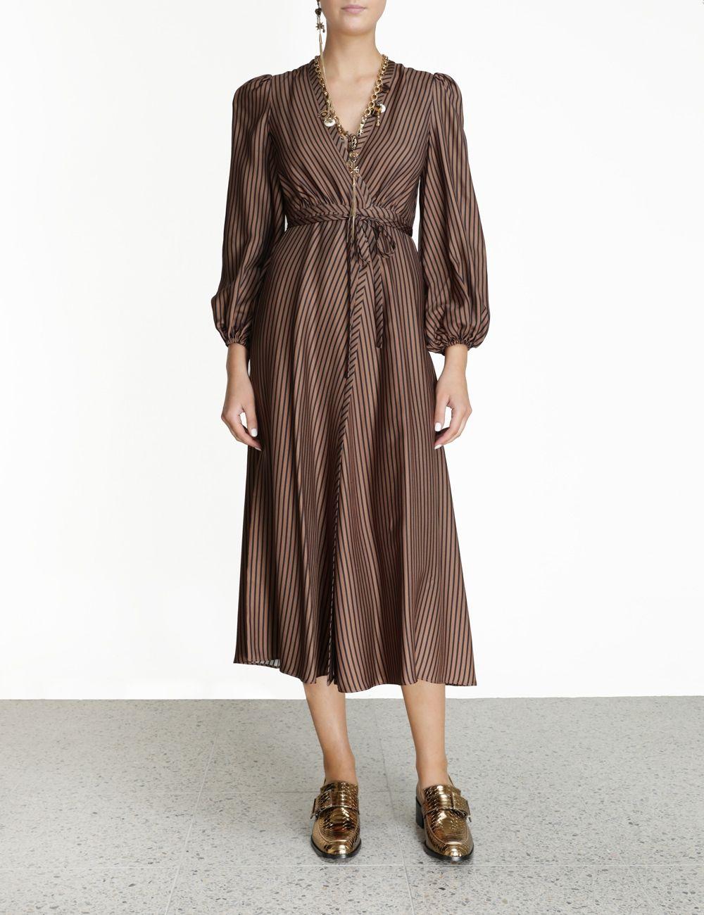 Silk Twill Wrap Dress Tan Stripe Online Zimmermann Dresses Wrap Dress Aesthetic Clothes [ 1300 x 1000 Pixel ]