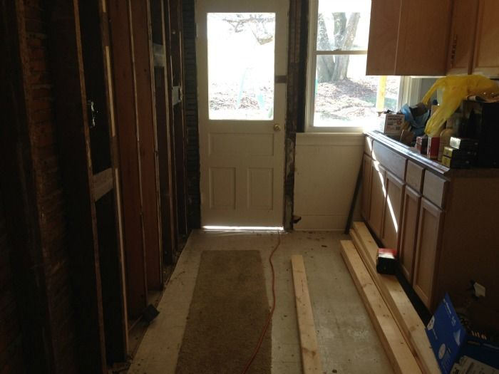Galley Kitchen Interior Before Removing Exterior Door And Wall Diy