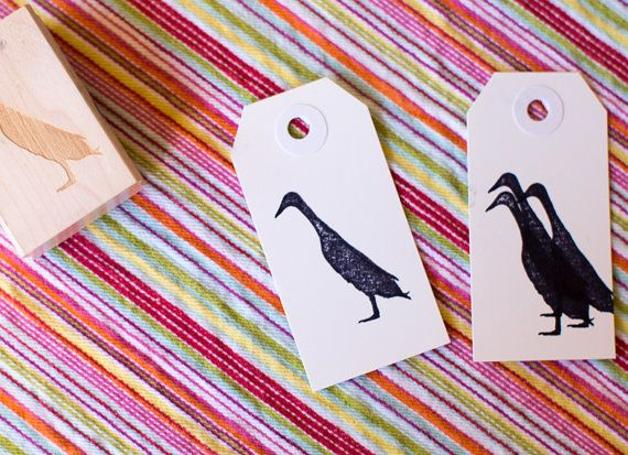 Runner Duck Stamp - Silhouette of an Indian Runner Duck - Red Rubber Stamp - Perfect for Custom Hangtags and Duck Egg Cartons by AuthenticHeirloomsCo