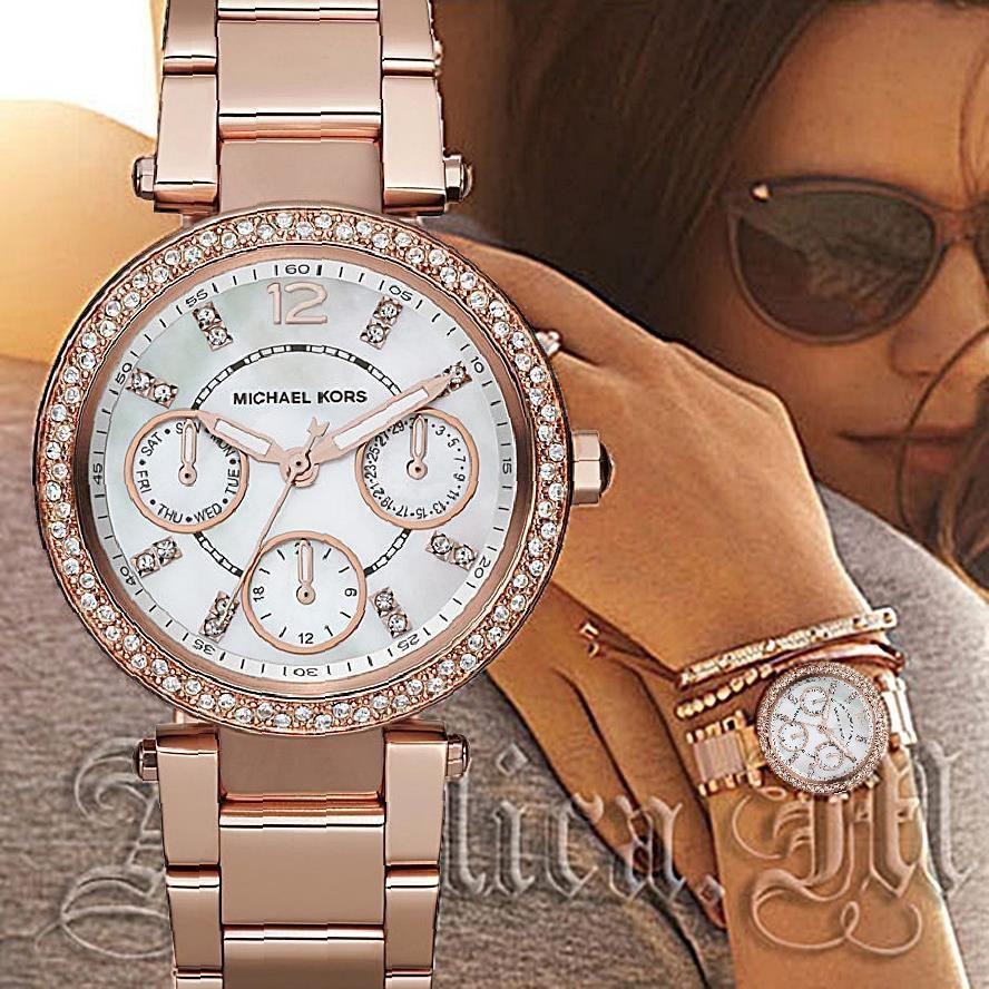 Original Michael Kors Uhr Damenuhr Mk5616 Mini Parker Farbe Rose Gold Strass Neu Michael Kors Uhr Armbanduhr Armbanduhre Damenuhren Farbe Rose
