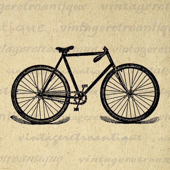 Printable Image Bicycle Download Illustrated Bike Digital Graphic ...