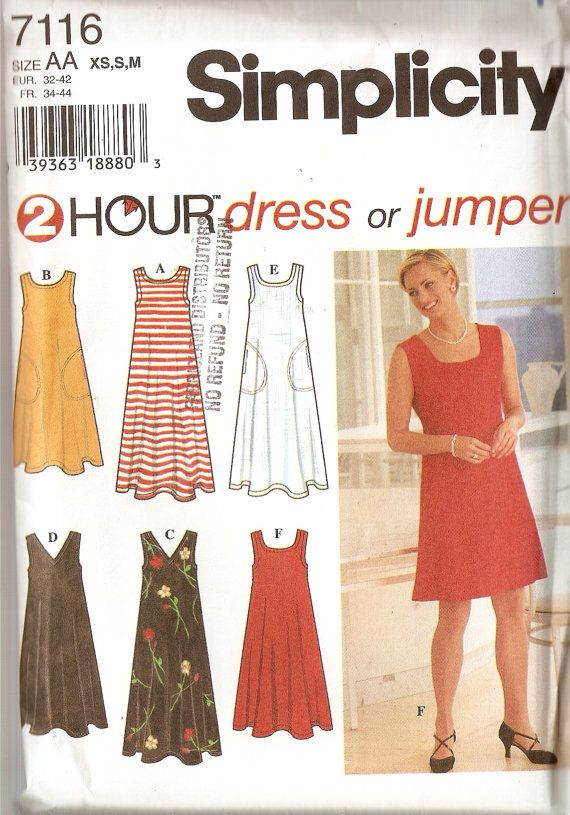 Misses Simplicity Pattern 7116 2 Hour Pullover Flared Dress Jumper ...