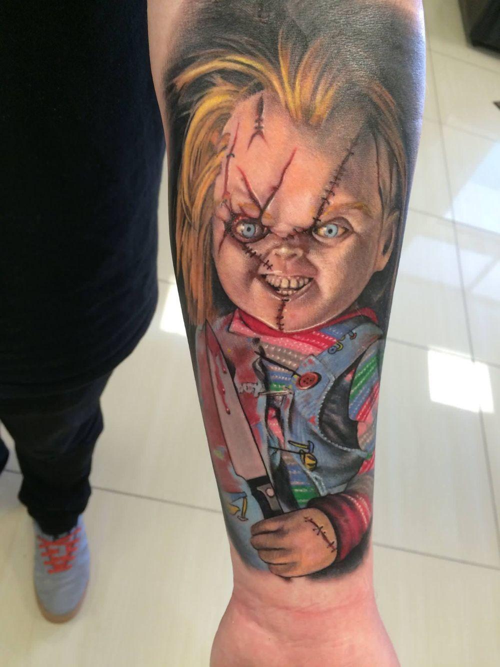ba9d22a27cd39 Awesome Chucky tattoo | exorcist chuckie tattoo | Chucky tattoo ...