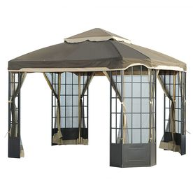 Sunjoy Brown Rectangle Gazebo Foundation 10 Ft X 12 Ft L Gz120pst 2 Gazebo Gazebo Replacement Canopy Gazebo Canopy