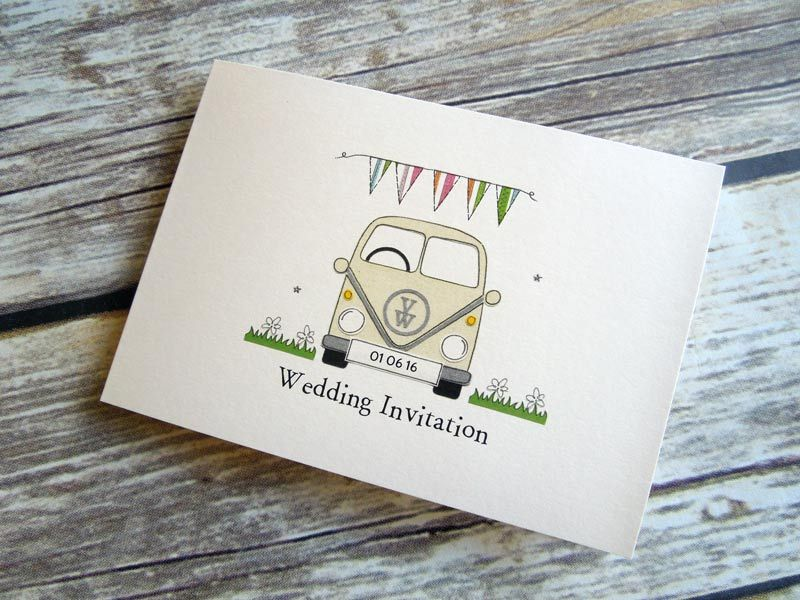 bunting and campervan budget wedding invitation | wedding ...