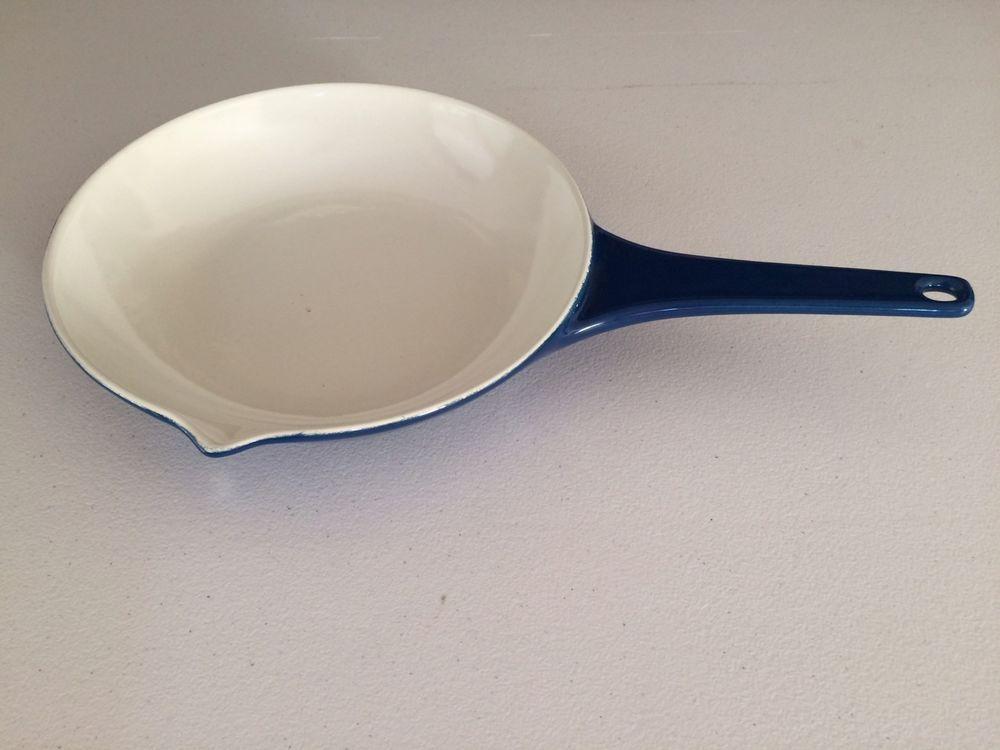 Copco Denmark 109e Blue White Enamel Cast Iron 8 25 Saute Skillet Fry Pan Collectibles Kitchen Home Ki Enamel Cookware White Enamel Enameled Cast Iron