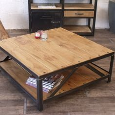 table basse carr industrielle bois m tal id e d co pinterest bois metal table basse et. Black Bedroom Furniture Sets. Home Design Ideas