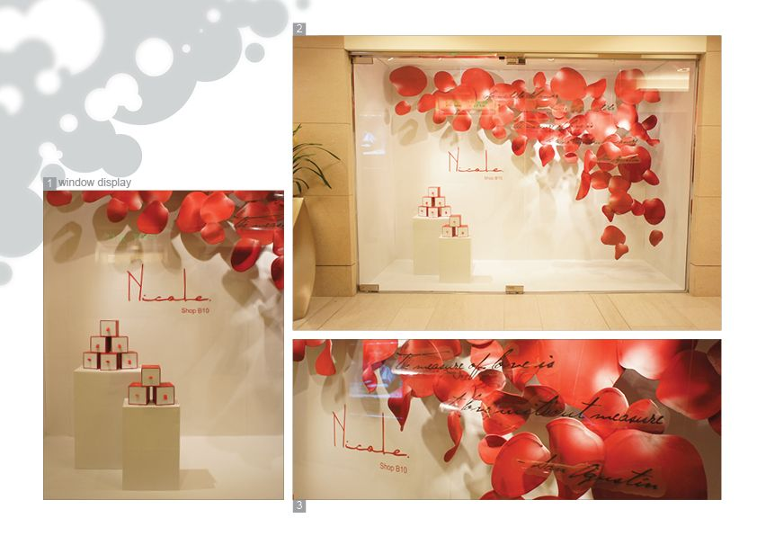 3d window display vm nicole concept store valentine Valentine stage decorations