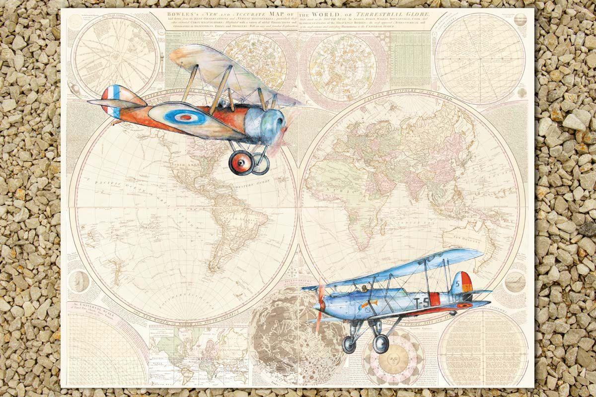 Airplanes World Map Nursery Decor Vintage Airplane Large Print - Vintage aviation maps