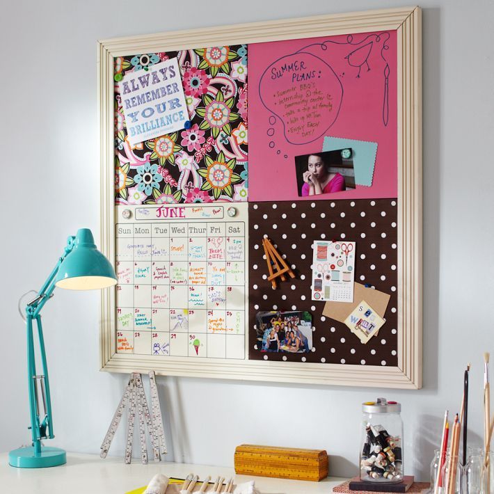 Diy by design pottery barn teen inspired style tile board for Diy bulletin board for bedroom
